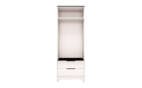 Шкаф для одежды двухдверный Танго 9 с ящиками Ижмебель белый/черный матовый