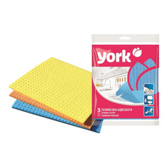 Салфетки хозяйственные губчатые York целлюлоза 17.5x15.5 см 3 штуки в упаковке