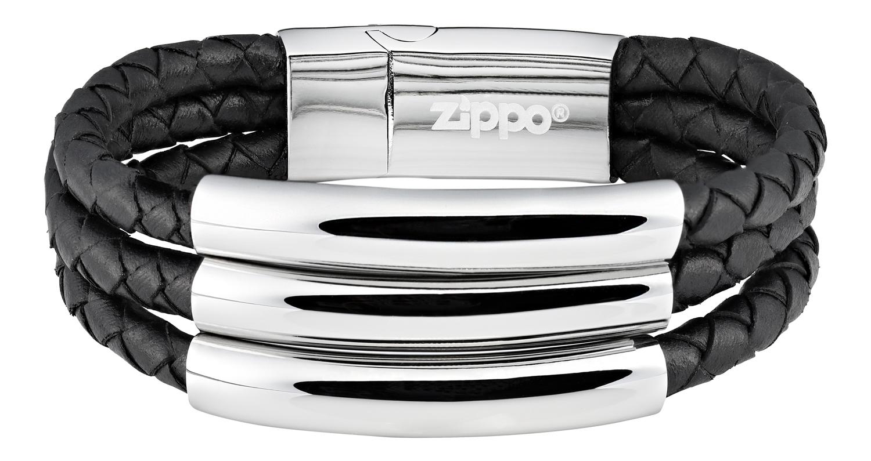 Американский мужской чёрный браслет 3в1 из кожи и стали с магнитным замком Zippo 2006235 в подарочном футляре