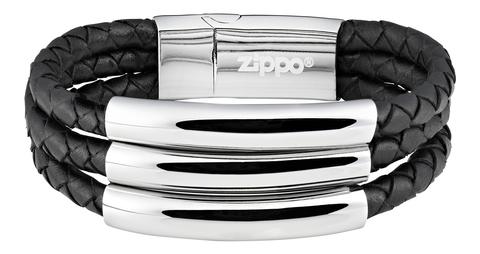 Мужской кожаный со сталью браслет 3в1 Zippo 2006235