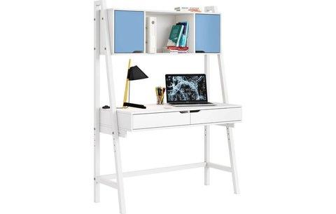Стол письменный Polini kids Mirum 1446 высокий с полкой, белый/двери голубые