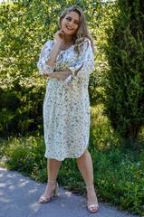Алевтина. Ніжна сукня великих розмірів. Квіти молоко.