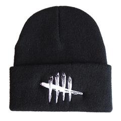 Вязаная шапка с отворотом и вышивкой Dead by Daylight (Мертвы к рассвету), черная