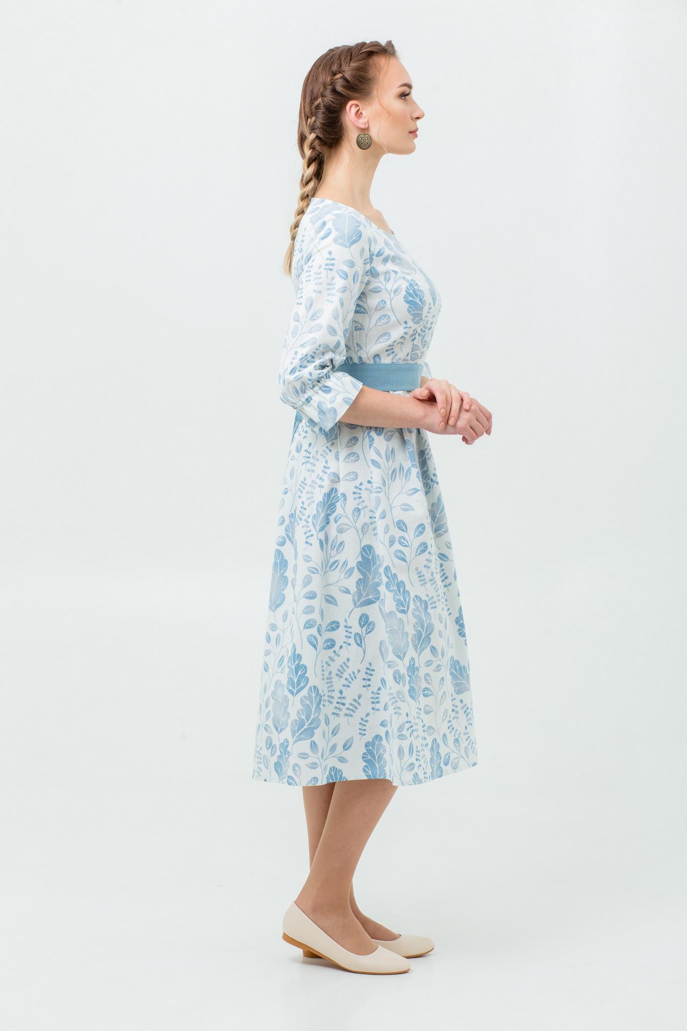 Платье из хлопка и льна в русском стиле
