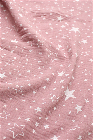 Ткань муслиновая,звездочки разные на розовом