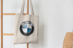 Сумка-шоппер с принтом BMW (БМВ) бежевая 001