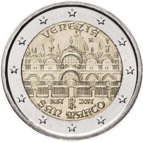2 евро. 400-летие завершения строительства собора Святого Марка в Венеции. Италия. 2017 год