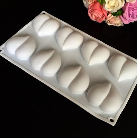 Силиконовая форма для выпечки пирожных РАНДЕВУ  СЕРДЦЕ С ПРОЖИЛКОЙ 8в1 (60х55мм)