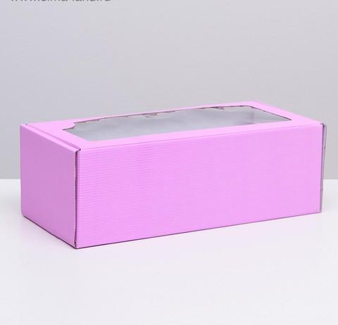 Коробка сиреневая с окном, 16*35*12см