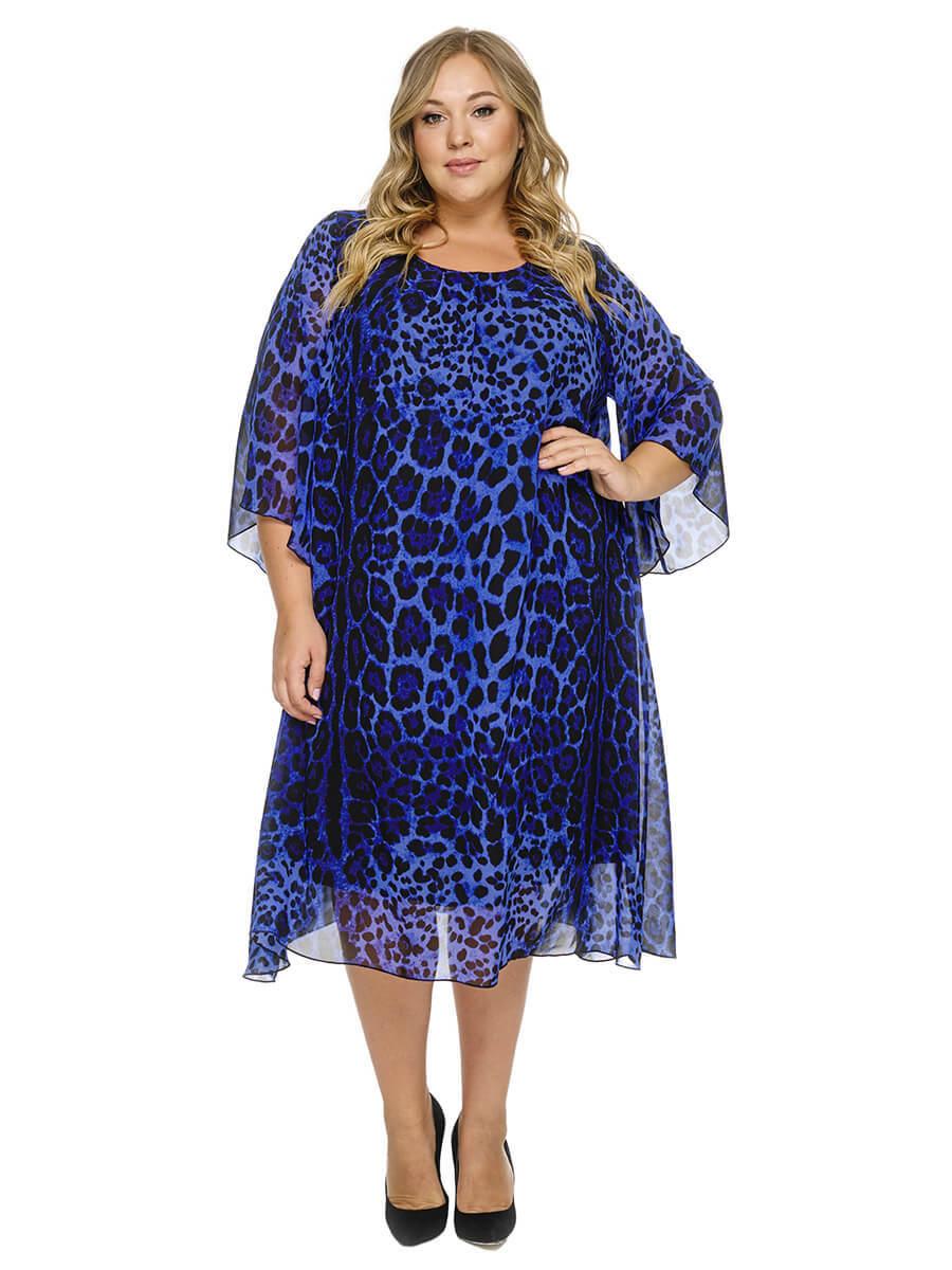 Платье  шифоновое Синий леопард
