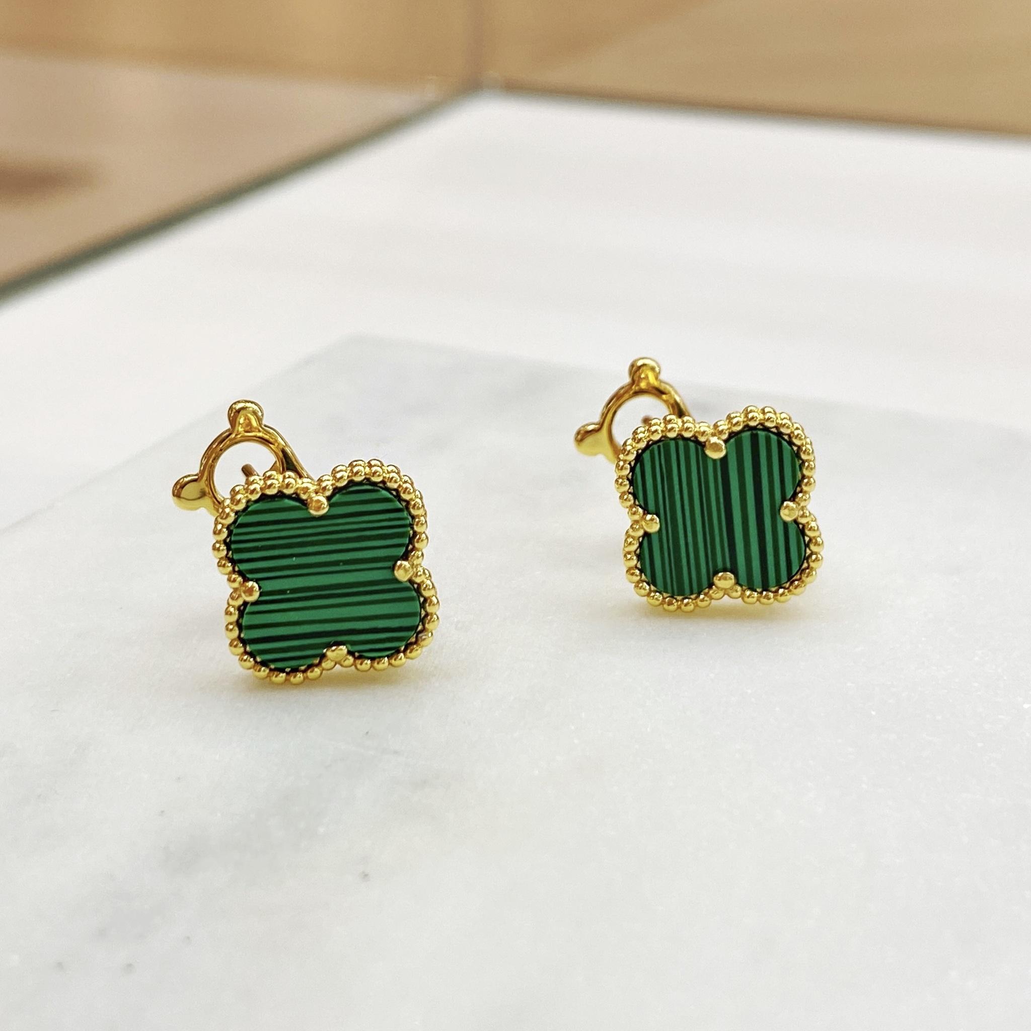 Серьги Клевер (зеленый, золотистый)
