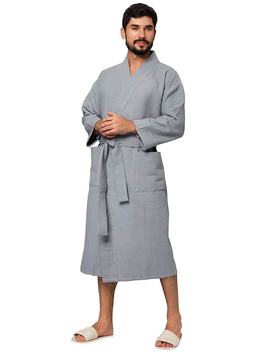 Банный халат серый премиум