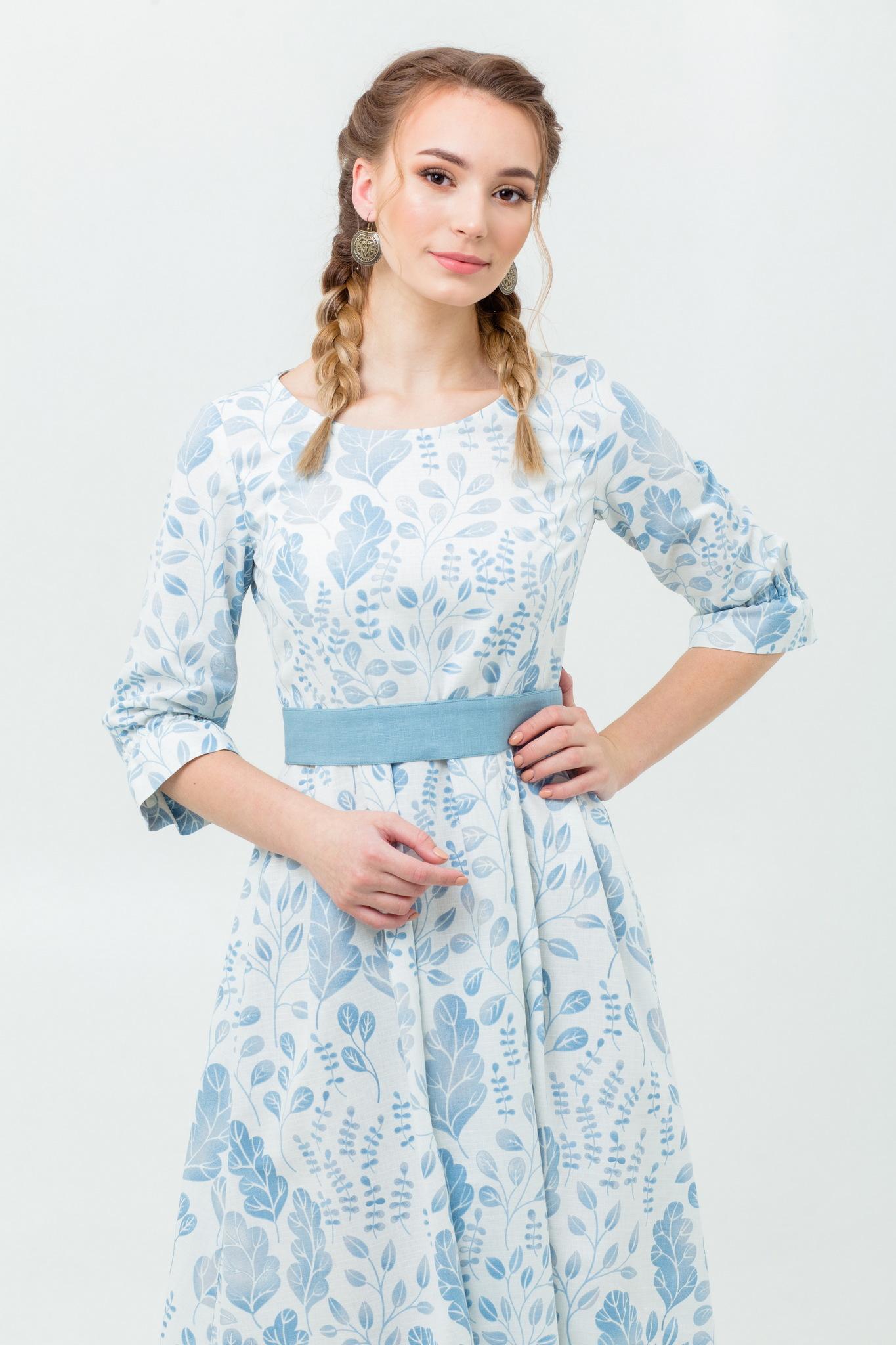 Народное современное платье из льна