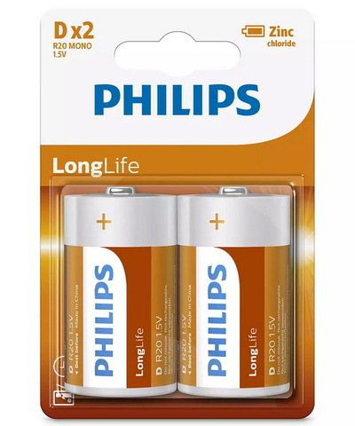 Батарейки Philips LongLife R20, D (2/24)