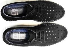 Летние туфли мужские мокасины с перфорацией smart casual Luciano Bellini 91754-S-315 All Black.