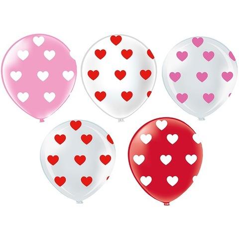 Шары красные, белые, розовые с сердцами, 30 см