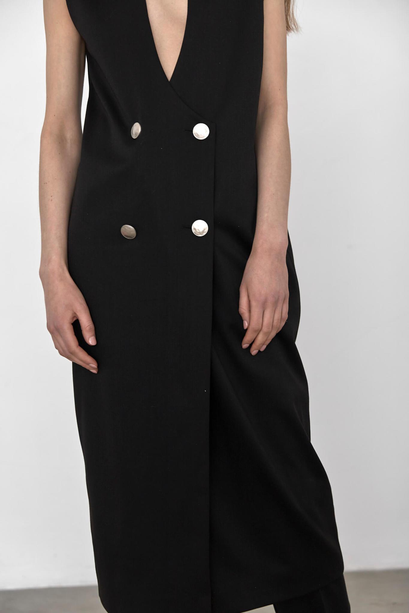 Платье-фрак без рукава, черное