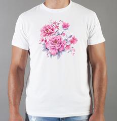 Футболка с принтом Цветы (Пионы) белая 0016