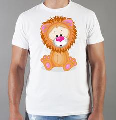 Футболка с принтом Лев (Lion) белая 0043