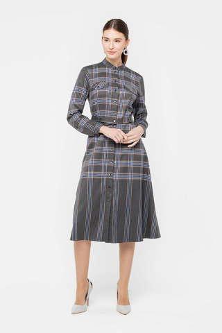 Фото серое платье длины миди в клетку с невысоким воротником-стойкой - Платье З394-709 (1)