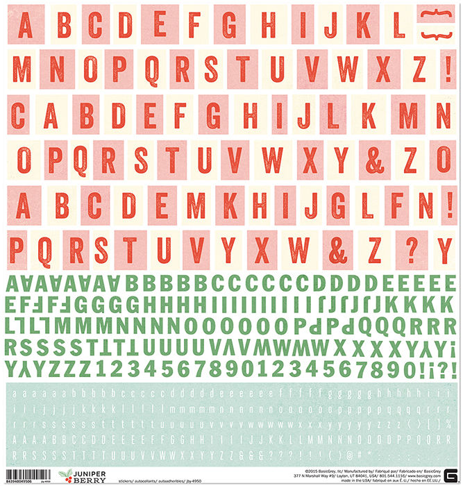 Лист стикеров с цифрами 30*30см Juniper Berry Cardstock Stickers - Alphabet