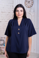Хильда. Нежная женская блуза больших размеров. Синий