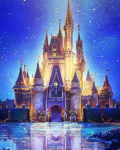 Алмазная Мозаика 40x50 Средневековый замок ночью