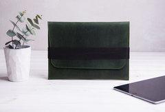 Зеленый горизонтальный кожаный чехол Gmakin для iPad