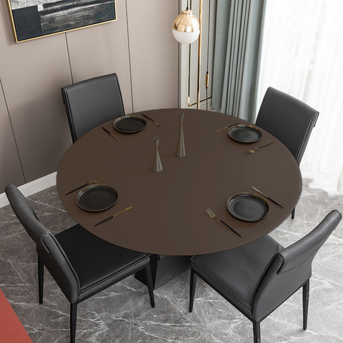 Скатерть-накладка на круглый стол диаметр 85 см двухсторонняя из экокожи коричневая