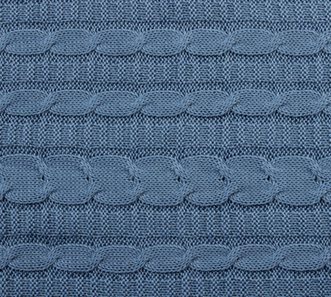 Вязаный плед серо-голубой 140x180