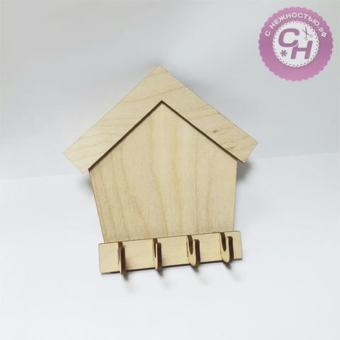 Ключница-домик, 4 крючка,  3*14*14 см, деревянная, 1 шт.