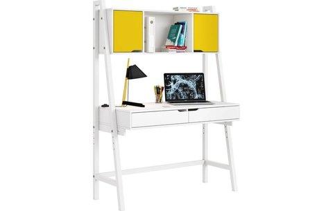 Стол письменный Polini kids Mirum 1446 высокий с полкой, белый/двери желтые