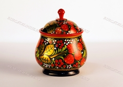 Сахарница деревянная с традиционной Хохломской росписью