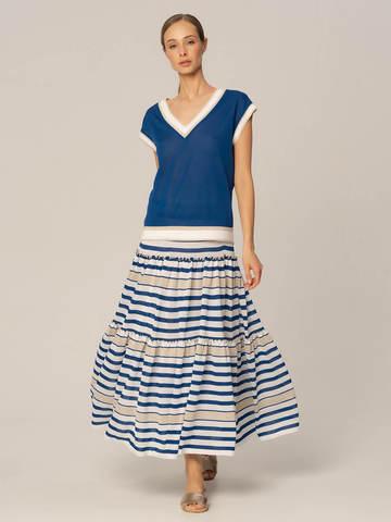 Женская юбка в бело-синюю полоску из вискозы - фото 2