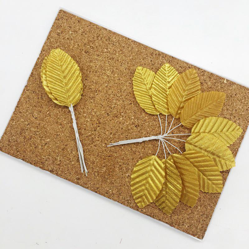 Листья из ткани на проволоке, золото