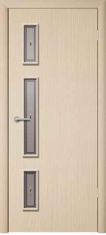 Дверь Фрегат Вертикаль, матовое с фьюзингом, цвет беленый дуб, остекленная