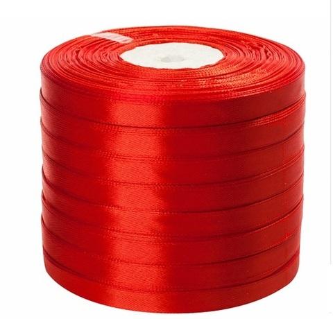 Лента атласная (размер: 10 мм х 50 ярд) Цвет: красная