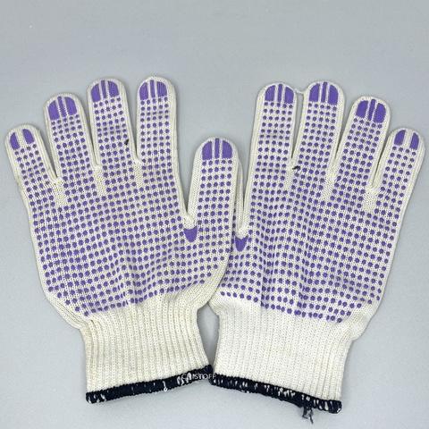 Перчатки ХБ белые с ПВХ напылением, пара