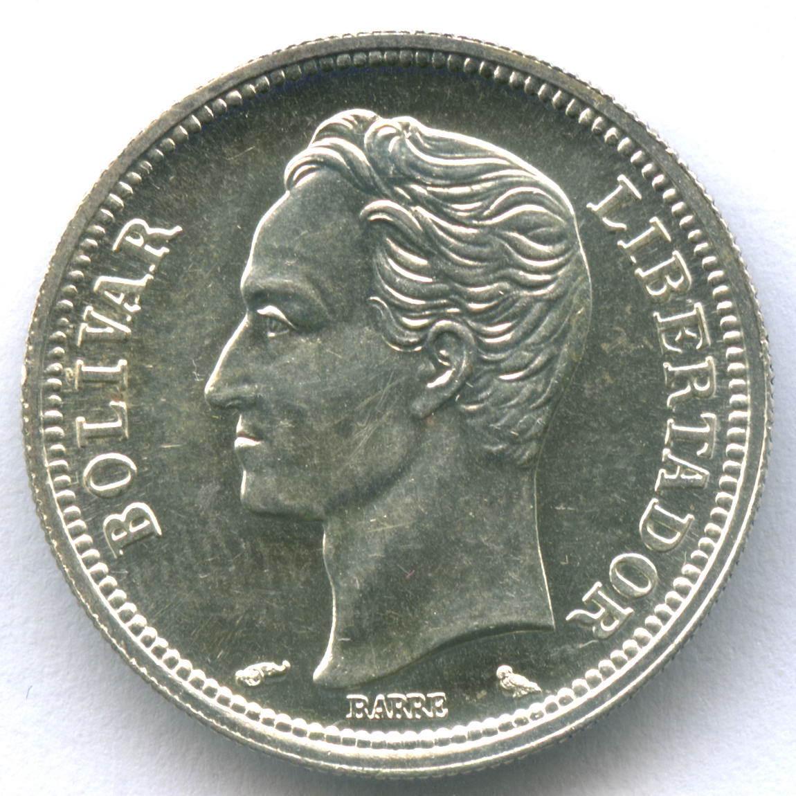 1 боливар 1965 г. Венесуэла XF-AU Серебро