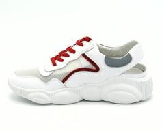 Белые кожаные кроссовки с открытой пяткой