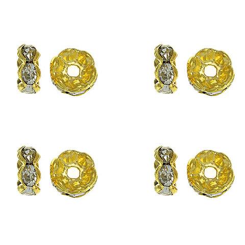 Рондель со стразами 6 мм  золото - фигурная обжимка
