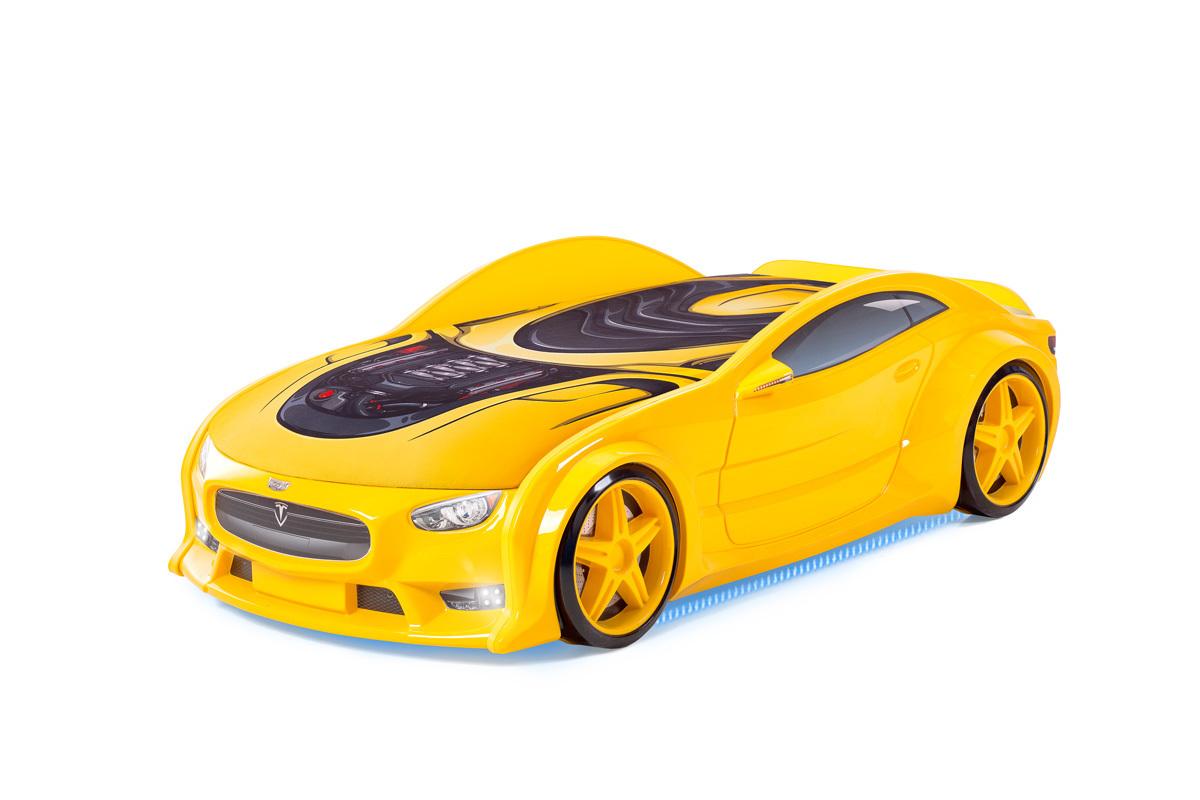 """Кровать-машина объемная NEO """"Тесла"""" жёлтый"""