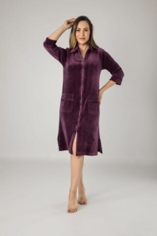Халат женский  велюровый на молнии 0321 фиолетовый NUSA Турция