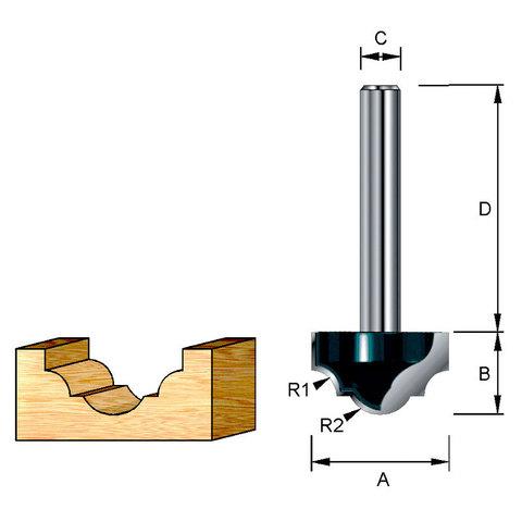 Фреза пазовая фасонная классическая 38,1х38х22,2х12 мм; R=8,73 мм