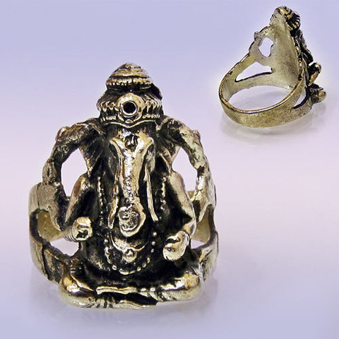 Кольцо Ганеш металл
