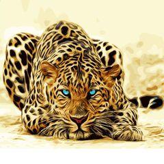 Картина раскраска по номерам 30x40 Голубоглазая тигрица