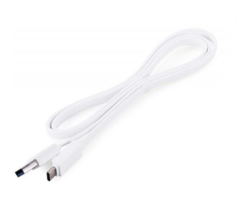 Кабель USB Type-C, 1m плоский white