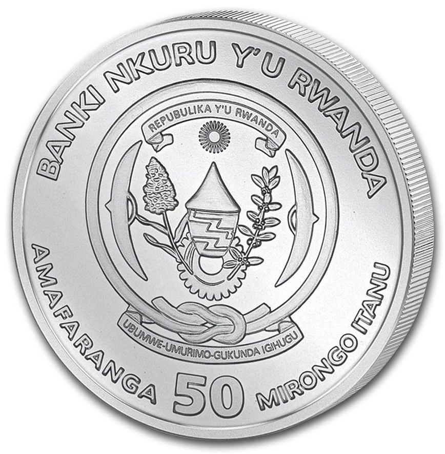 50 франков. Год свиньи. Лунная унция. Руанда. 2019 год
