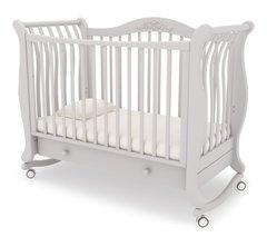 Кровать детская Габриэлла колесо-качалка,ящик белая ночь