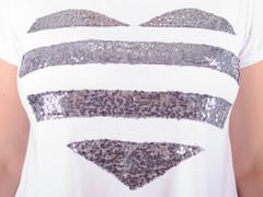 Арнея. Нарядна футболка великих розмірів. Срібло.